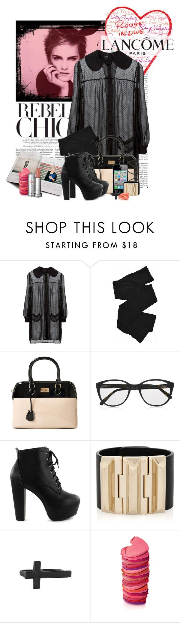 """Show Your Mood with Rouge in Love by Lancôme (:"" by cherrybomb101 ❤ liked on Polyvore featuring Lancôme, Trasparenze, Paul's Boutique, Prism, AT&T, Nly Shoes, Gucci, Forever 21, knuckle rings and top handle bags"