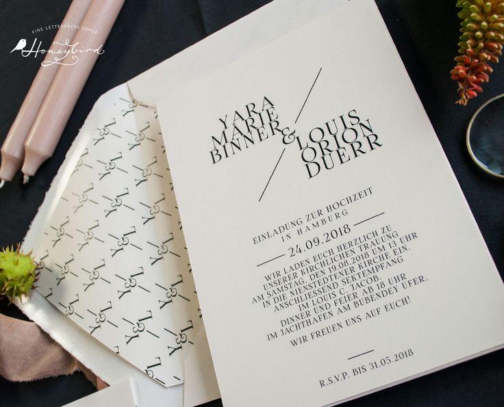 Honeybird Design Chelsea Einladung  mit Monogramm als individuelles Kuvertinnenfutter (Design Variante ohne Blumen)