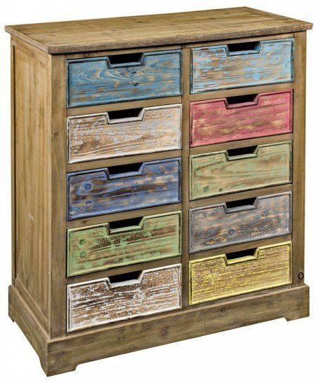 10 Drawer Wooden Cabinet Multicoloured
