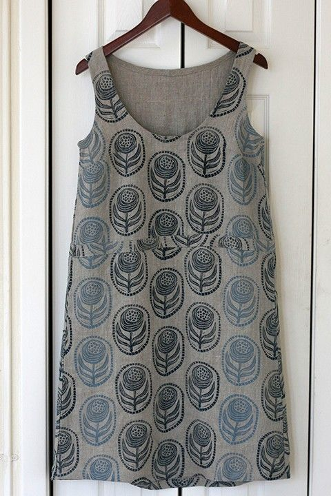 Print, Pattern, Sew: May 2015 by Jen Hewett. Block printed fabric and dress pattern by the artist.
