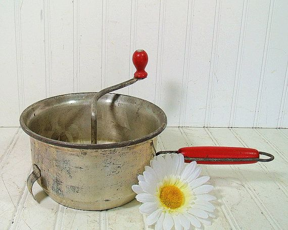 Vintage Red Wooden Handled Food Mill  Rustic Foley by DivineOrders, $11.00