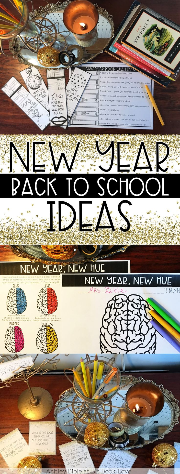 New Year Back to School Ideas! Book Resolutions, New Year Reading Challenge, and Growth Mindset