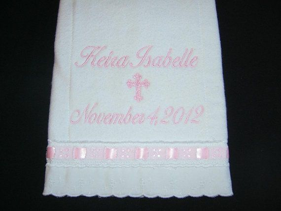 14 best baby dedication towels images on pinterest baby dedication a personalized burp cloth is the perfect baptism or christening gift babys name date negle Images