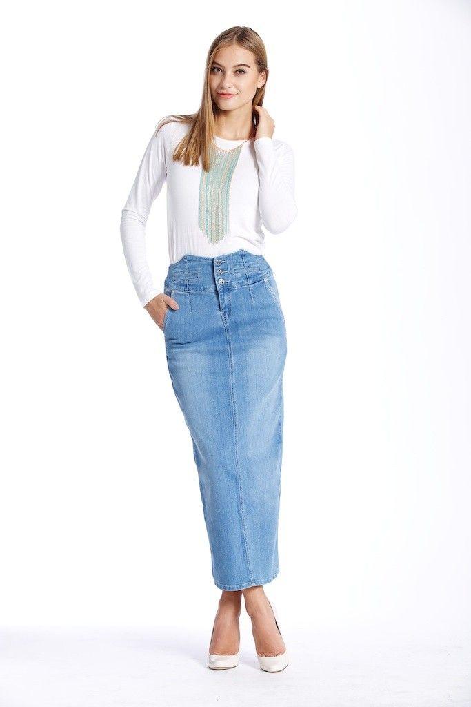 Jupe longue droite en jean en vente sur www.froom.fr