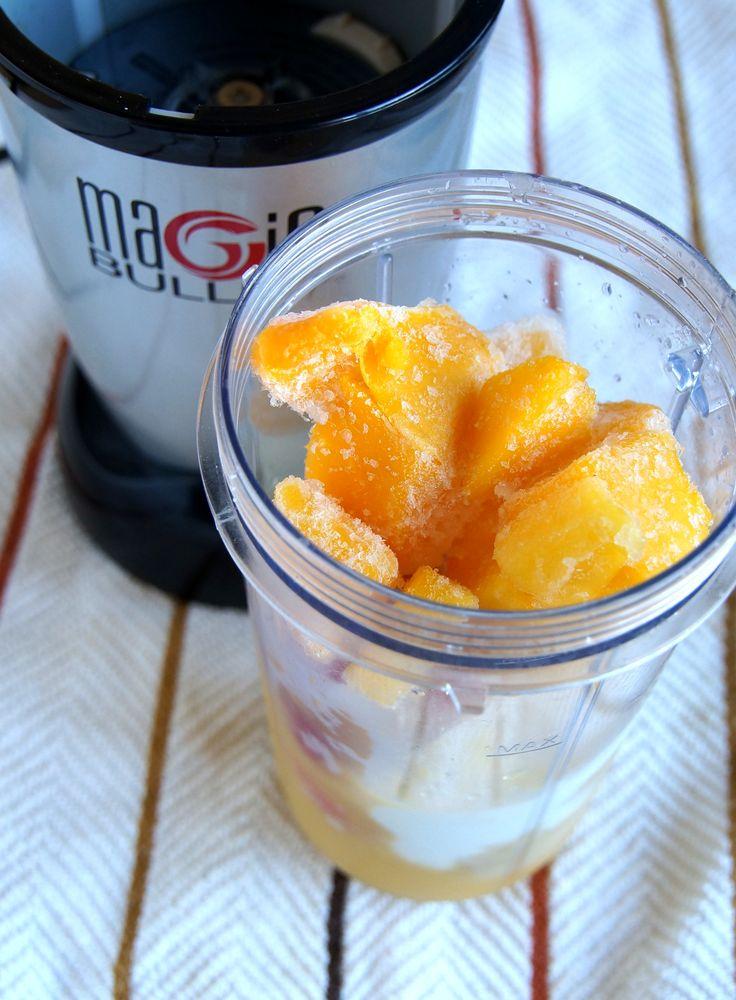 Strawberry Mango Smoothie: 1 banana, 1/2 cup frozen mango cubes, 1/2 cup frozen strawberries, 1/4 cup plain non-fat yogurt, 1/3 cup orange juice