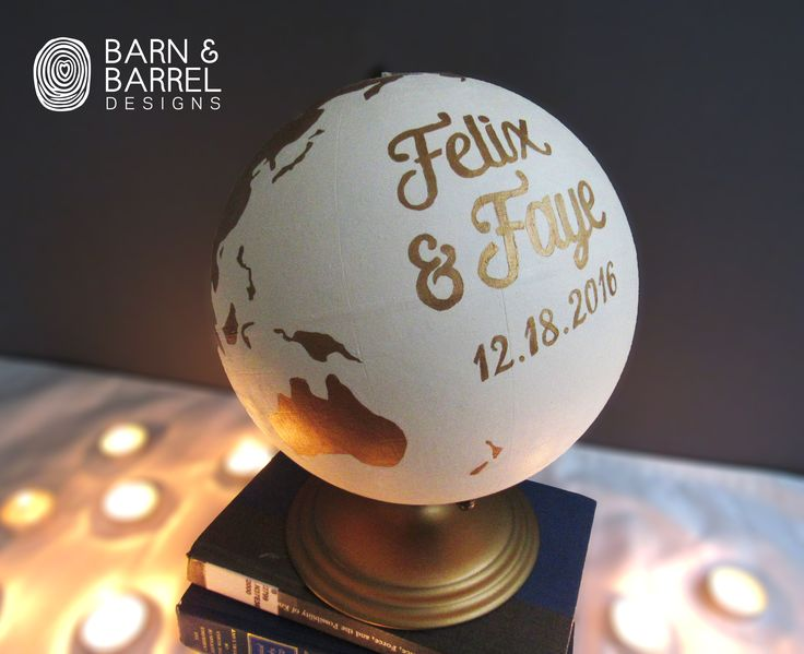 "Beautiful 9"" diameter hand painted white and gold wedding guestbook globe. The globe makes a perfect guestbook alternative for all your guests to sign and you can keep it on display to remind you of your special day!  This globe is hand painted, therefore there will be brush strokes as there would be on a painted canvas."