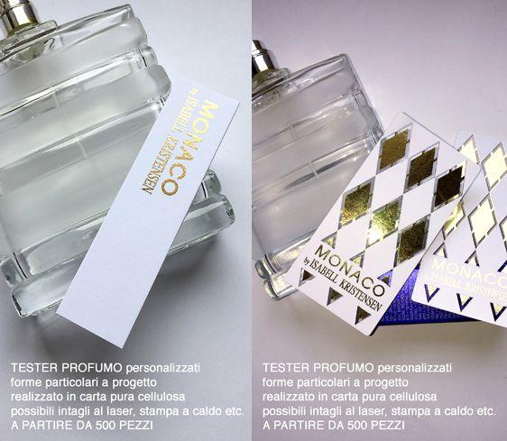 Tester profumo stampa digitale + laser + oro a caldo in digitale, anche in pochi pezzi