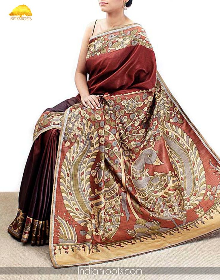 Brown tussar silk saree with kalamkari on the palla by Weavers Studio on Indianroots.com