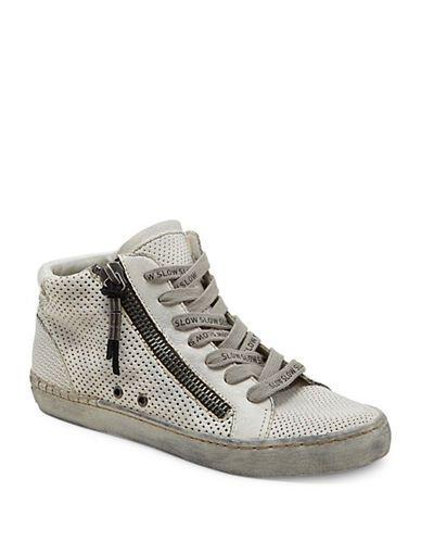 <ul><li>Contemporary leather sneakers with all over perforations</li> <li>Leather upper</li> <li>Side zipper</li> <li>Lace-up style</li> <li>Rubber sole</li> <li>Padded insole</li> <li>Imported</li></ul>