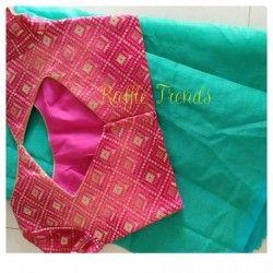Chanderi saree with banarasi ready wear blouse