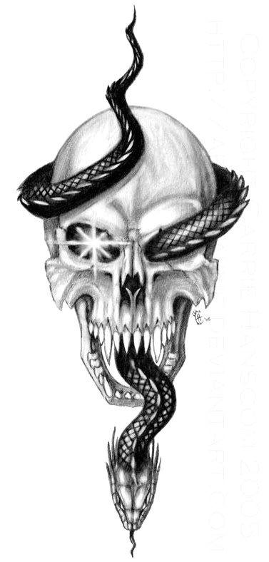 Black Snake Tattoos for Men  Skull and Serpent by Aerin Kayne #ModernTattooDesig…