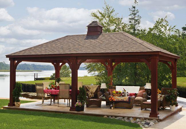 14'x24' Traditional Wood Pavilion - Mahogany Stain - Cupola - Asphalt Shingles (2)