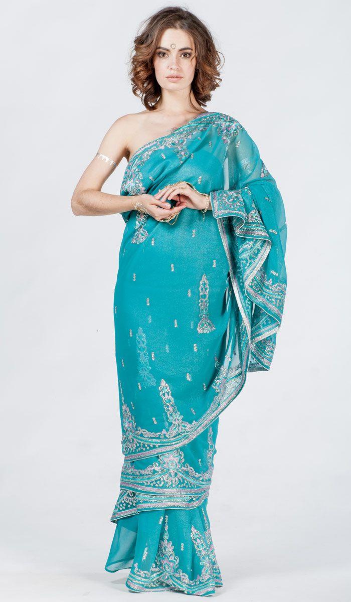 Индийское сари шифон, вышивка,голубое сари из Индии, Indian sari, saree, blue sari from India. 21 200 рублей
