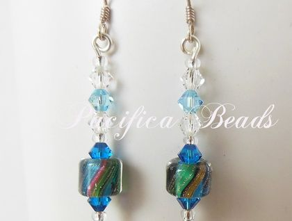 blue cane glass bead & crystal earrings. Swarovski crystal beads accent beautiful hand made cane beads with stripes of different colors and goldstone. Sterling silver earwires