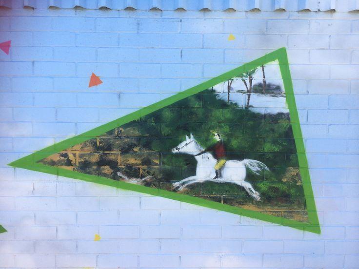 KingslandNZ-Putangitangi street artwork. Colonial horseman rides into town