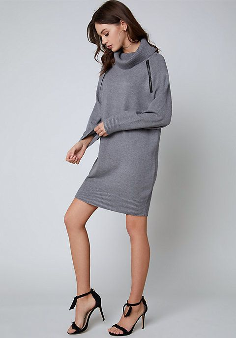 e58020ea945 The Zip Detail Sweater Dress in Heather Grey from bebe (also in white!).  French-girl sweater dress in an easy cocoon silhouette. Slouchy turtleneck  and cool ...
