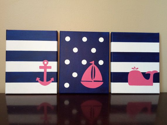 Nautical Canvas Art in Pink and Navy. Sailboat nursery art. Girl nautical nursery decor. Pink nautical art for girls room. Set of 3 (8x10).