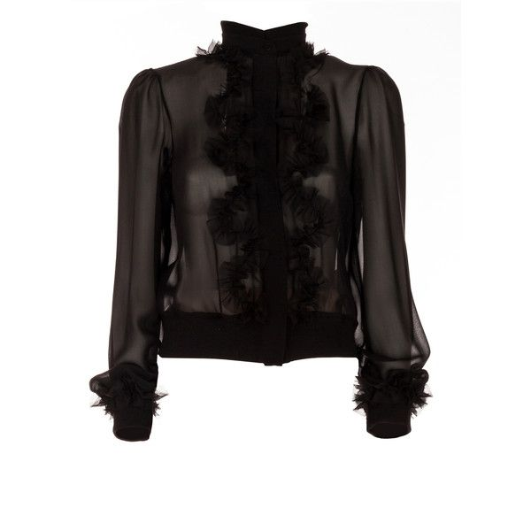 Black Ruffle Blouse | Moda Operandi ($740) ❤ liked on Polyvore featuring tops, blouses, frilled blouse, frilly tops, ruffle top, see through tops and sheer blouse