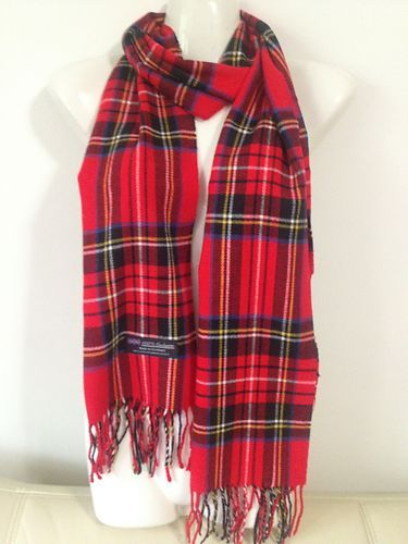 Cashmere Scarf Scottish Plaid Design Color Red Super Soft Unisex