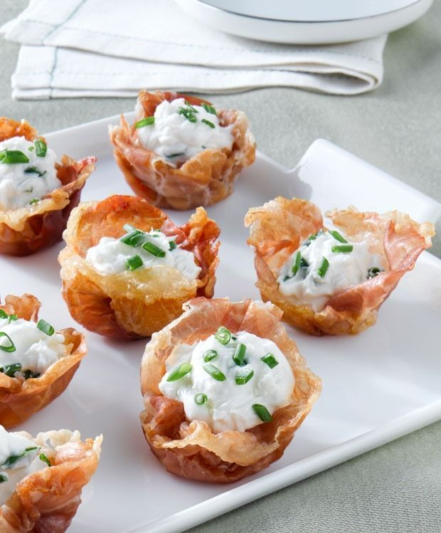 Crispy Prosciutto di Parma cups with Goat Cheese Mousse  | This Mama Cooks! On a Diet thismamacooks.com