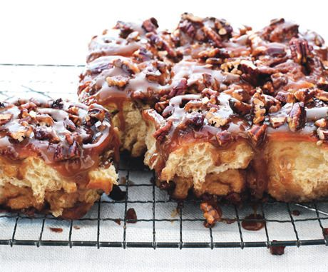 Ultimate Sticky Buns  make ahead, once buns are in the pan, pop them in refrigerator to rise overnight, in the morning let them rise at room temp for an hour, until doubled in size....then bake  grease pans generously