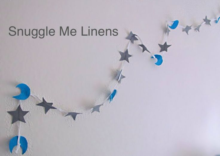 "Turquoise and grey garland to match Snuggles ""Twinkle Twinkle little Star"" range of bedding"