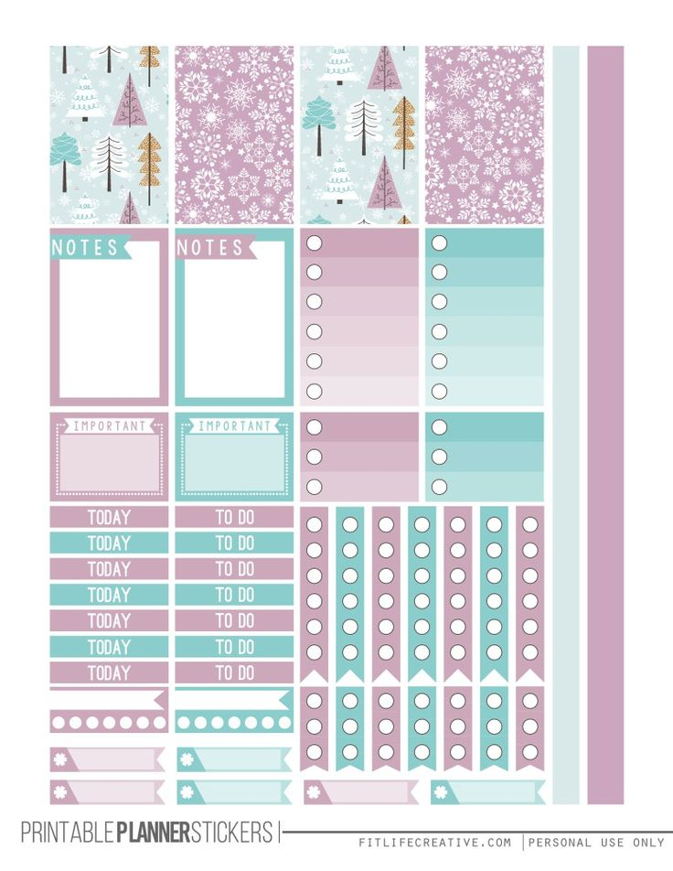 Winter Wonderland Free Happy Planner Printable Sticker set. Includes two pages of winter themed planner stickers that are not only beautiful but also fully functional.