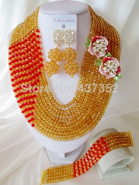 Nigerian Beads for African Wedding Champagne Gold Beads Costume Jewelry Set African Fashion Jewelry Set Free Shipping CPS-3136 $58.31