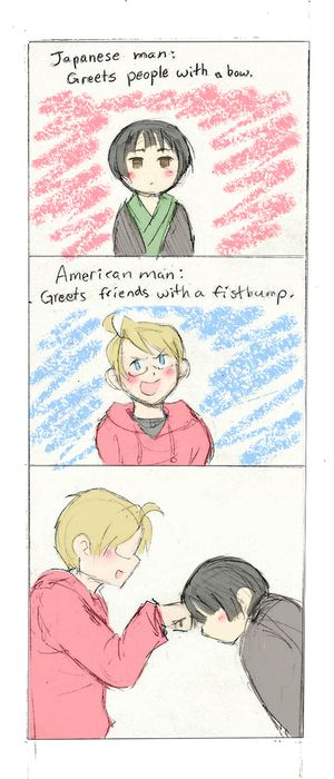 Hetalia - Japanese and American. hahahah. if this isn't true for you, just don't take it seriously :D