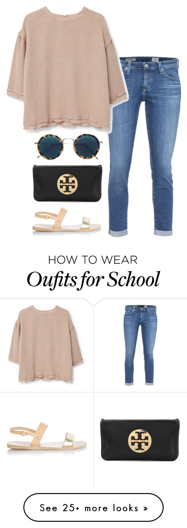 """no school tomorrow :-)"" by helenhudson1 on Polyvore featuring AG Adriano Goldschmied, MANGO, Eyevan 7285, Tory Burch, Ancient Greek Sandals, women's clothing, women, female, woman and misses"
