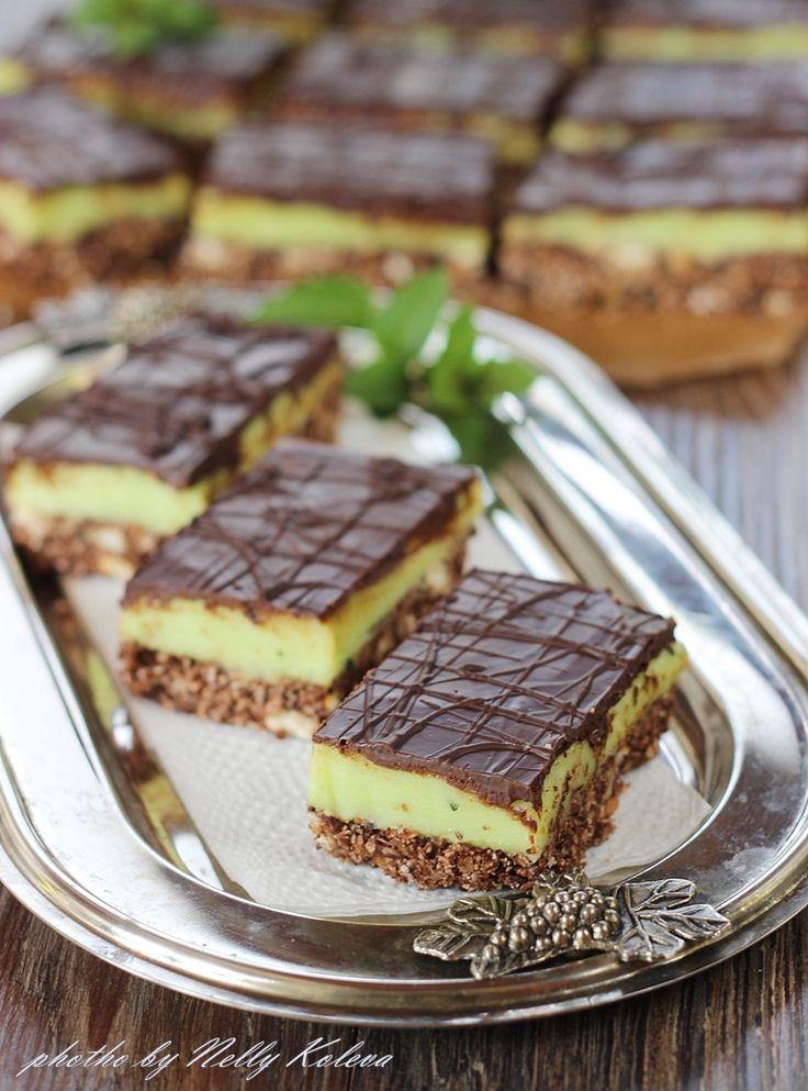 Chocolate Mint Nanaimo Bars from Food for the soul: Ментов сладкиш Нанаимо