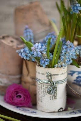 Cover a tin can with paper from a book (or scrapbook paper) and add ribbon!Old Paper, Grape Hyacinth, Old Book Pages, Spring Flower, Vintage Book, Ribbons, Flower Pots, Scrapbook Paper, Tins Cans