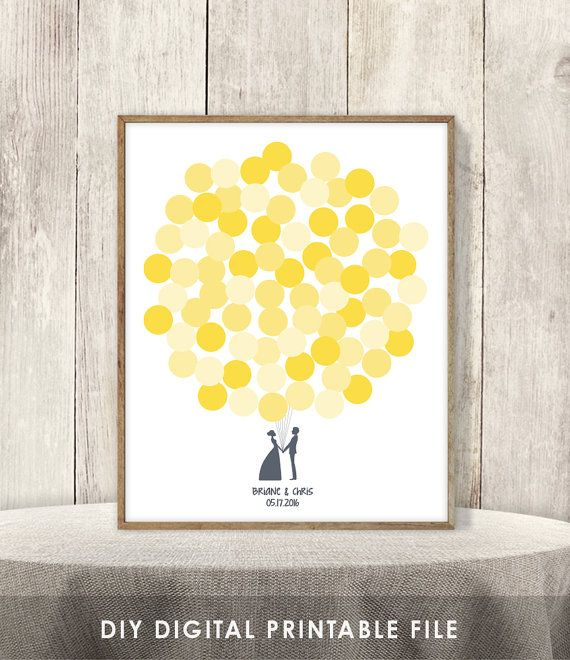 Wedding Guest Book Alternative Sign DIY // Guest Sign In Poster // Shades of Yellow Balloons, Newlywed Couple // Printable PDF ▷ 75 Balloons