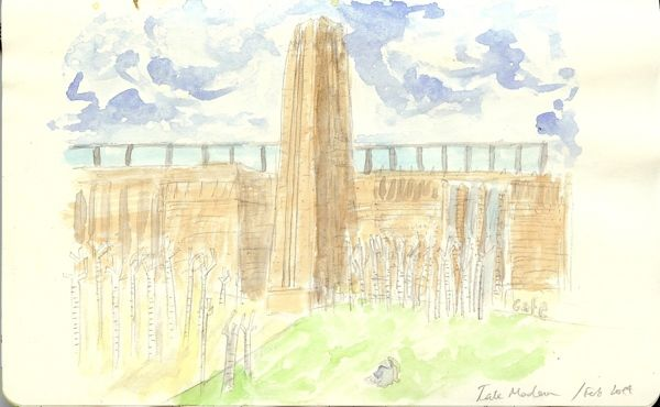 From my Moleskine - Tate Modern in pencil and watercolours   Tali Kord