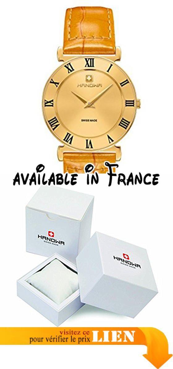 B074PSWLND : Hanowa Montre Femme Swiss Made Bracelet en cuir 164053.02.002. Hanowa plates pour femme avec bracelet en cuir. Diamètre boîtier: env. 33mm (sans couronne). Hauteur du boîtier: env. 6.1mm. Cadran couleur argent. Brillant façon croco bracelet de montre en cuir marron avec boucle ardillon dorée et 2passants de bande