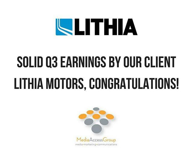 """Another great quarter for our client, Lithia Motors – so proud to call them our partner!"" by @mediaaccessgroup. • • • • • #digitalmarketing #onlinemarketing #marketingtips #contentmarketing #marketingonline #socialmediamarketing #smm #marketingstrategy #emailmarketing #marketingdigital #businesstips #seo #socialmediatips #onlinebusiness #internetmarketing #marketing101 #inboundmarketing #socialmedia #marketing #socialmediastrategy #branding #startups #businessquotes #startup #businessowner…"