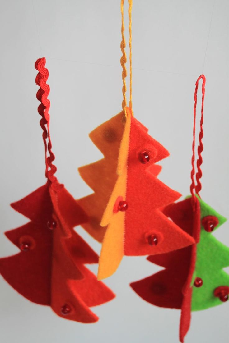 Construction christmas ornaments - Felt Christmas Decoration Christmas Tree Set Of 3 Hanging Christmas Gift