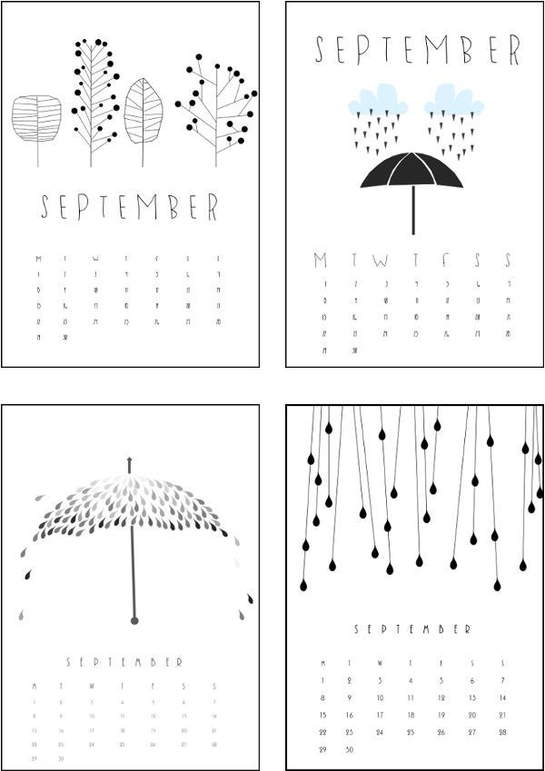 SEPTEMBER 2014 CALENDARS. DESIGN BY ME