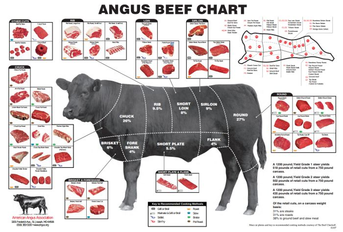 great chart with each section of beef, and what cuts of meat come from that section.