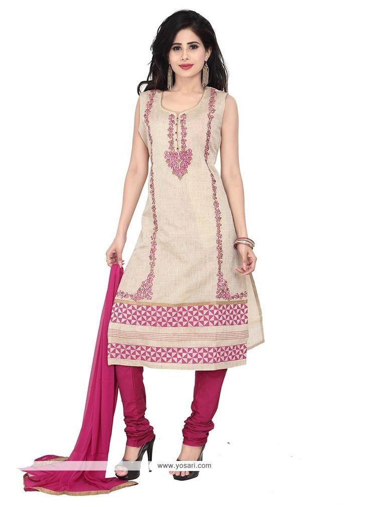 Tantalizing Cream Embroidered Work Khadi Designer Suit Model: YOS6942