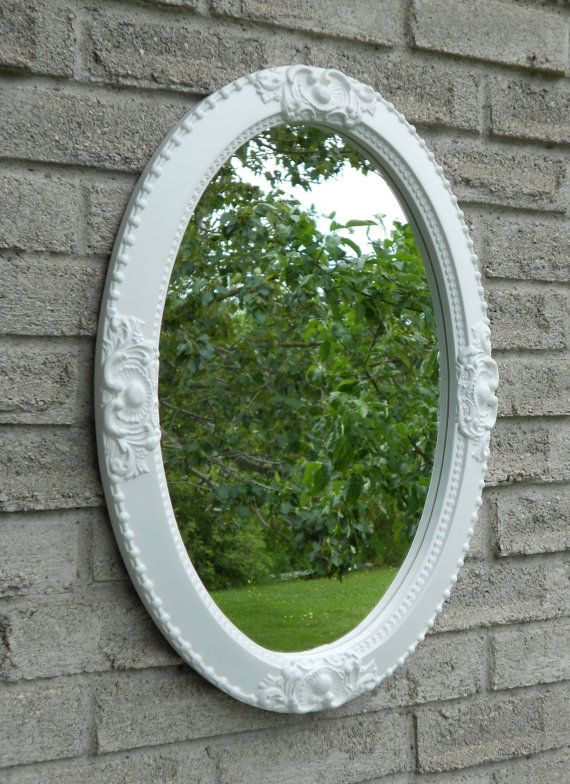 White frame oval wall mirror.   vanity mirror, nursery mirror, bathroom mirror, framed mirror,shabby chic