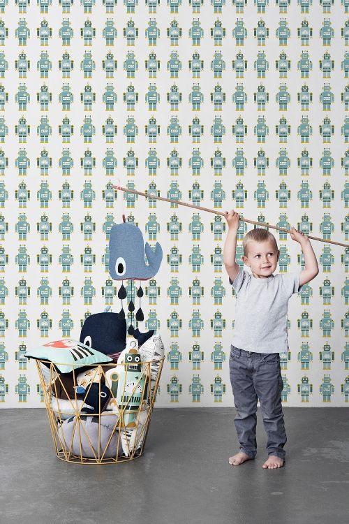 Ferm Living behang / wallpaper. Robots