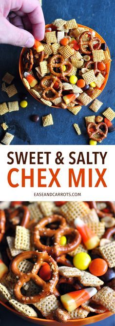 Sweet and Salty Chex Mix Recipe. A sweet and salty Chex party mix perfect for your upcoming Halloween festivities!