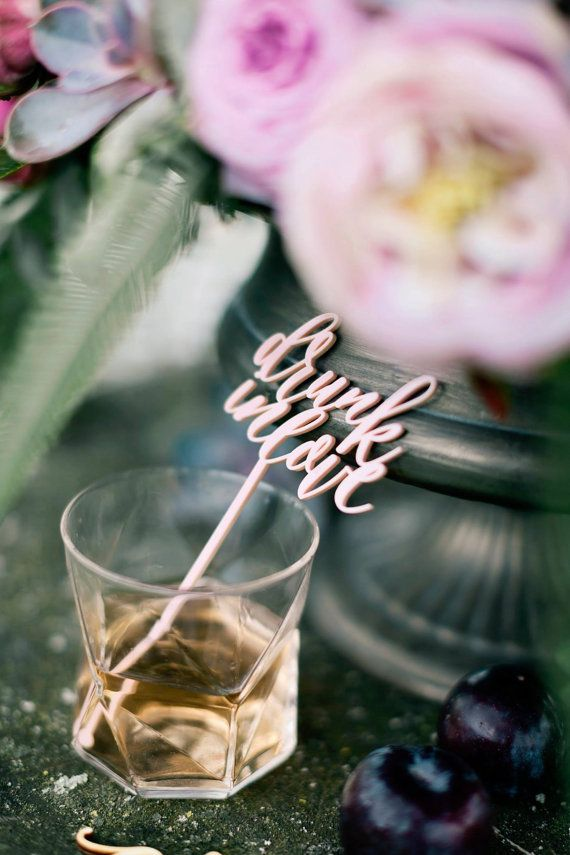Drunk in Love drink stirrers are a fun addition to any party, whether it be for a girly gathering, Wedding, Valentines Day or an Anniversary!  Laser cut from 3mm acrylic. Emma Jo Stationery  www.emmajo.co.uk