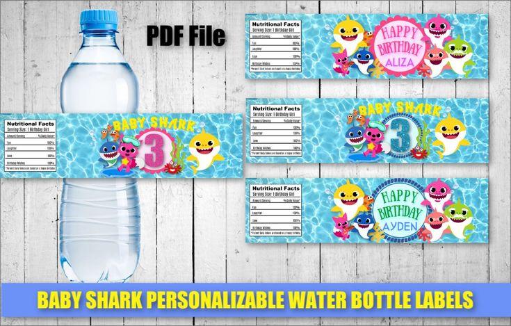 Baby Shark Water Bottle Labels Boy Girl Personalizable