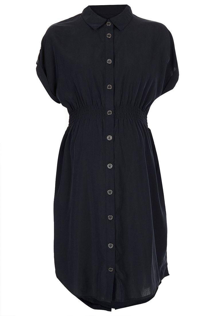 Topshop maternity navy button up dress