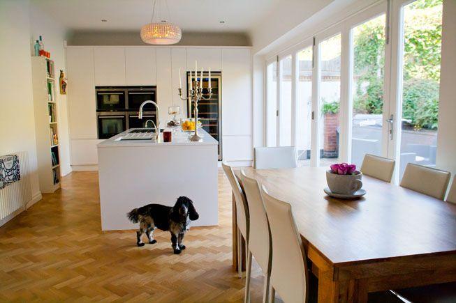 modern white kitchen in 1930s house