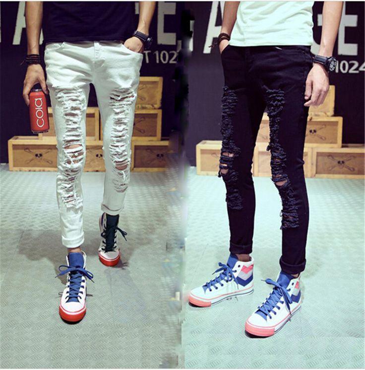 Стильные мужские уничтожены деним джинсы брюки с отверстиями вилочная часть белый рваные джинсы для мужчины S-2XL