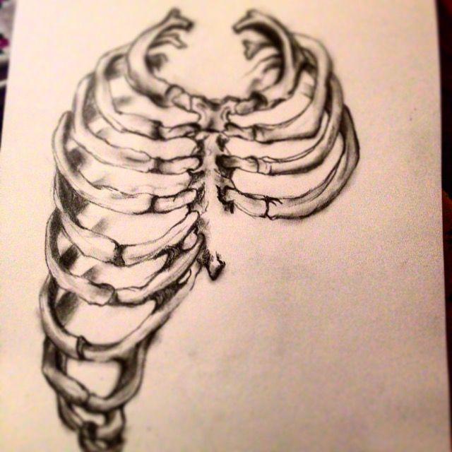 studio 6. Fashion Design (Honours) RMIT University. led pencil sketch, bones, rib cage structure.
