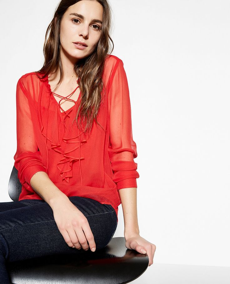 Chemise soie rouge volants - Collection THE KOOPLES